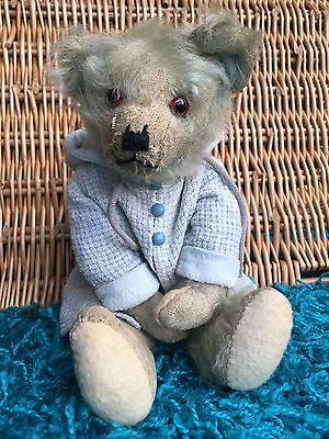 Percy - Endearing Rare BLUE 1920's Farnell Mohair Teddy Bear Antique Old English