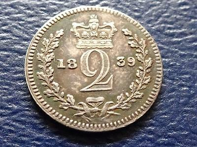 Queen Victoria Silver Maundy Proof Twopence 1839 2D Great Britain Uk