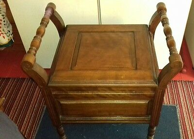Antique Victorian Chamber Pot Wooden Chair Commode Potty