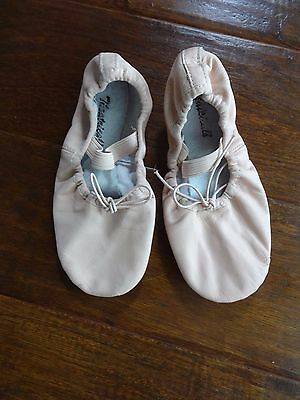 Girls Pink Leather Ballet Shoes, Size 13-Theatricals Brand