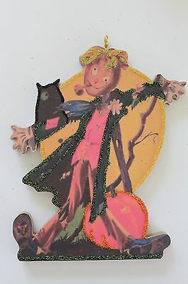 Scarecrow in Pumpkin Patch * Halloween Ornament * Vintage Image * Glitter