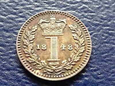 Queen Victoria Silver Maundy Penny 1848 1D Great Britain Uk