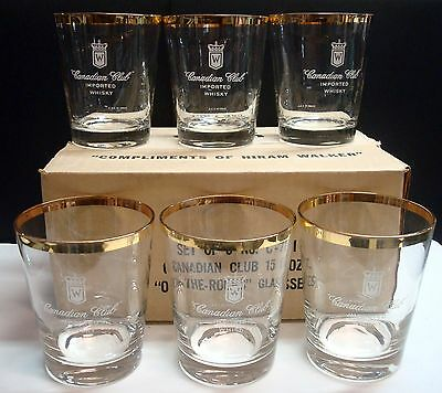 Canadian Club - Rocks Glasses - Hiram Walker - Set of 6 - 15oz - Continental Can