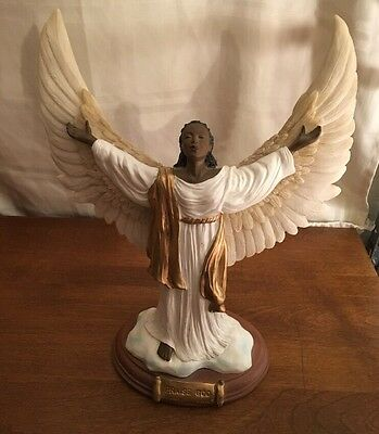 Vintage Ceramic Angel with Wings and Words PRAISE GOD - NICE!