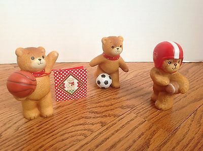 Lot of 3 LUCY & ME SPORTS FIGURINES Enesco BASKETBALL, SOCCER, FOOTBALL Cute!