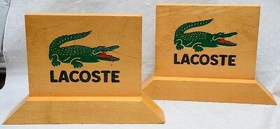 Lot of 2 Lacoste Wooden Advertising/Display Signs