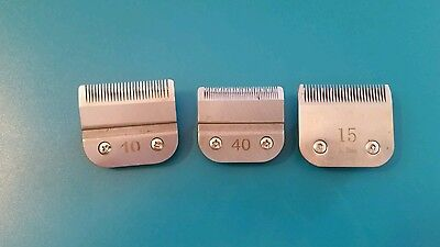 Lot of 3 Dog / horse Grooming Clipper Blades OSTER &  ANDIS size 10, 15, 40