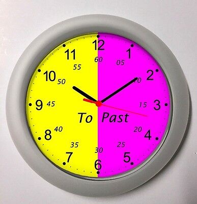 Children's Clock Learn To Tell Time Teacher - Learning Clock Pink Yellow 4-12