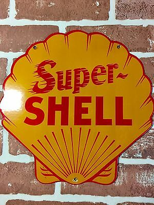 Super Shell Gasoline And Oil Company Porcelain Pump Plate Or Lubester Sign 😎