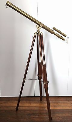 Classic Nautical Brass Telescope with Wooden Tripod Stand