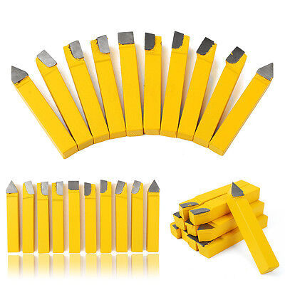 "10pcs 3/8"" Carbide Tip Tipped Cutter Tool C2 Cutting Set For Metal Lathe Tooling"