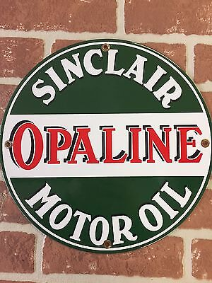 """SINCLAIR """"OPALINE"""" Motor Oil And Gasoline PORCELAIN PUMP PLATE OR LUBESTER SIGN"""