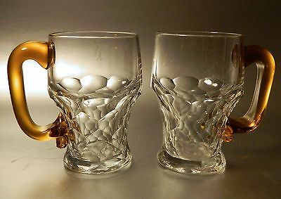 2 Duncan and Miller GEORGIAN Honeycomb Beer Mugs with AMBER Handles, NR
