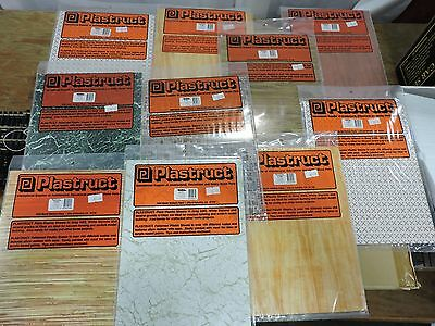 10 x 1/12th SCALE DOLLS HOUSE PLASTRUCT FLOORING, WALL, DOOR SHEETS  # DH-1