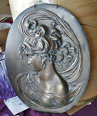 Bradley Hubbard Art Nouveau Cast Bronze Bas-Relief Lady Cameo Portrait Plaque