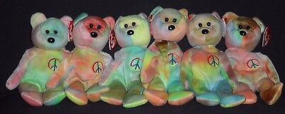 TY PEACE (TIE DYE) the BEAR BEANIE BABY LOT of 6 - MINT with TAGS - PLEASE READ