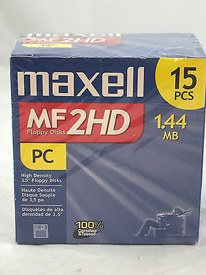 "15 Maxell Diskettes MF2HD PC Formatted 1.44 MB 3.5"" PC Floppy Disks New"
