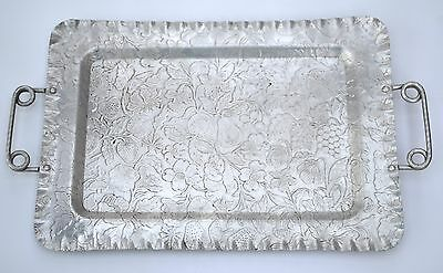 Hand Hammered Aluminum Tray Serving Dish Handles Fruit Floral Pattern