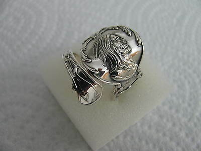 Antique Sterling Silver spoon RING s 8 1/4 INDIAN Jewelry #5494