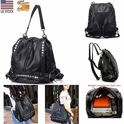 Women Fashion Backpack Rivet Studded Washed Leather Shoulder Rucksack Bag Purse