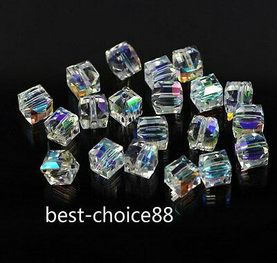 100pcs Faceted Suqare Crystal Glass Loose Spacer Beads For Jewelry Making 4mm