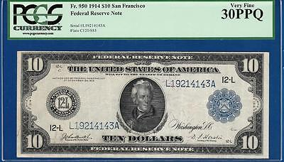 *TOUGH TYPE NOTE* 1914 $10 San Francisco Fr. 950 - PCGS Very Fine VF 30PPQ - C2C