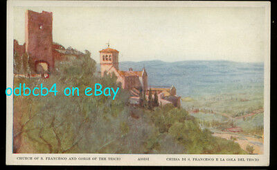 ITALY Assissi, Church of St. Francis & Tescio Gorge, Old Antique Postcard, 1910s
