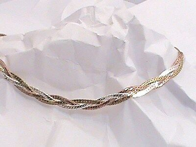 14K White Yellow Pink Tri Gold On .925 Braided Triple Anklet Ankle Bracelet 10""