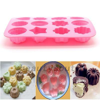 DIY 12 Cavity Flower Silicone Non Stick Cake Mold Chocolate Candy Baking Mould