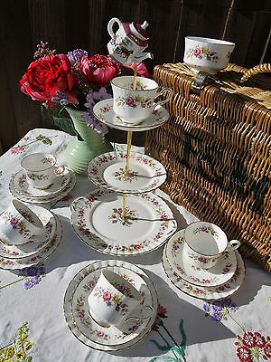 Vintage Royal stafford pink  roses mad hatter tea set  cake stand & 5 trio's