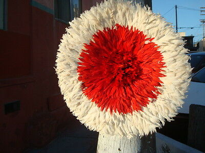 """Authentic 32"""" / Red & White / African Feather Headress  /Juju Hat / 1st Quality"""