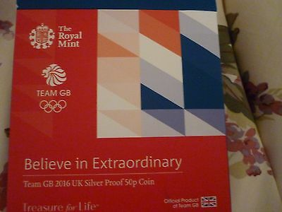 ROYAL MINT TEAM GB 2016 UK SILVER PROOF 50p COIN Ltd Ed NUMBERED NEW (LAST ONE)