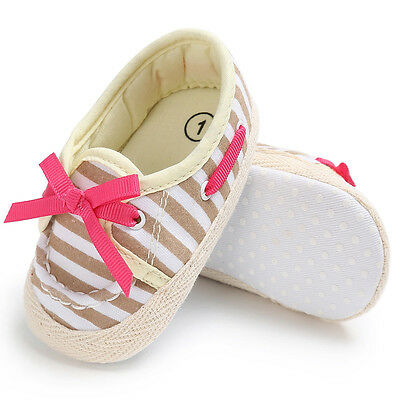 0-6M Newborn Baby Girl Canvas Soft Sole Cute Stripe Shoes Toddler Crib Boots