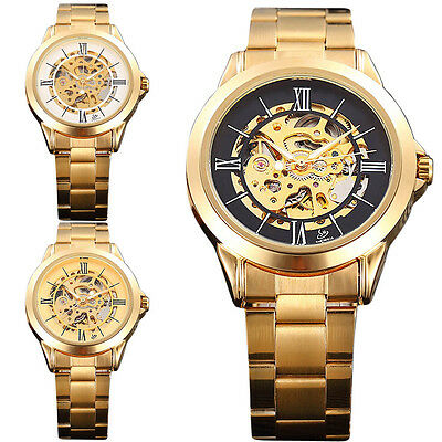 Luxury Charm Gold Tone Stainless Skeleton Automatic Mechanical Mens Wrist Watch