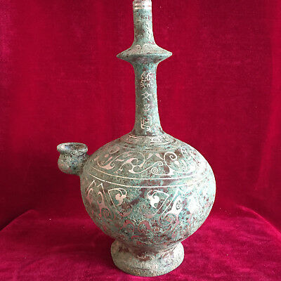 antique     Bronze silver-plated long neck wine pot in ancient China.