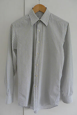 Dunhill Mens Long Sleeve Shirt Engineered Fit Check Yellow/grey Cotton Size S