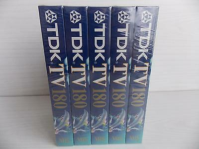 5 x TDK VHS TAPES : 180 MINS 3 HOUR :BRAND NEW & SEALED VIDEO CASSETTE