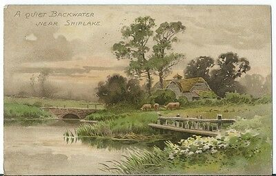 Shiplake Nr Henley on Thames Quiet Backwater Art PPC by Birn Bros Series 194