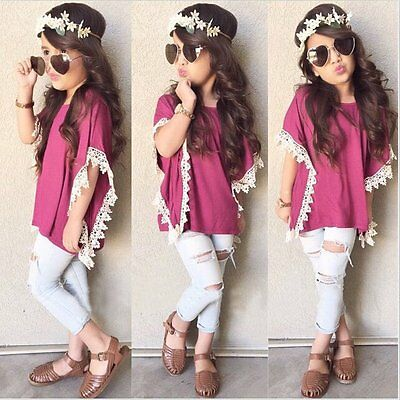 Toddler Kids Baby Girls Outfits Clothes T-shirt Tops Dress+Jeans Pants 2PCS Set{
