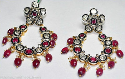 Victorian Style 3.94ct. Rose Cut Antique Cut Diamond Ruby .925 Silver Earring