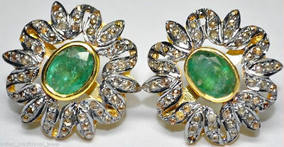 Victorian 4.38ct. Natural Rose Cut Diamond Emerald Earring Free Shipping Pj 001