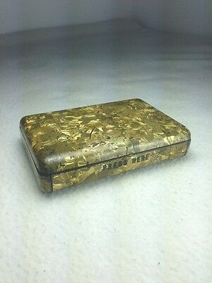 Antique TIN BOX DRESSMAKING PINS SEWING Gold FISHSCALE JAHNCKE'S PATENT Tin