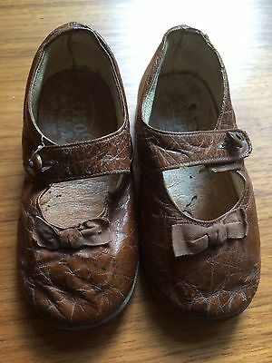 Antique Children's Brown Leather Shoes.