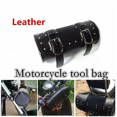PU - Leather Motorcycle Tool Bag Roll Handlebar Bag For Outdoor Tool Saddle Bag