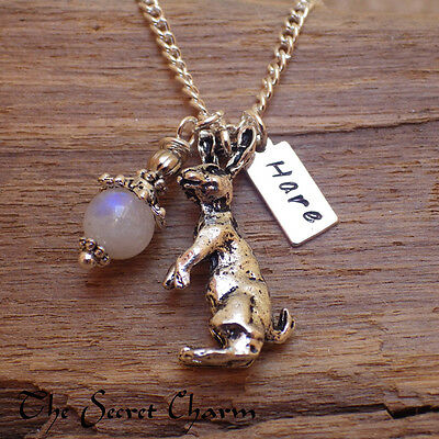 Moon Gazing Hare Silver Pendant, Moonstone Necklace Wiccan Pagan Gemstone Choice