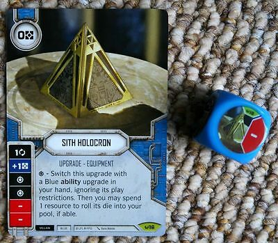 Star Wars Destiny CCG Sith Holocron ID 16 Rare Card with 1 Dice