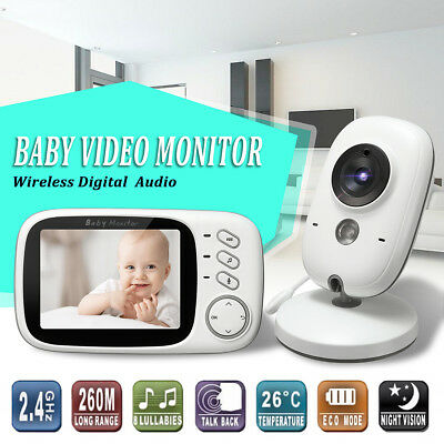 "2.4GHz Wireless Baby Monitor Camera Audio Video 3.2"" LCD Night Vision AU"