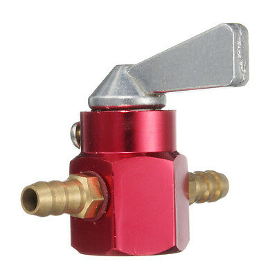 6Mm In-Line Petrol On-Off Fuel Tap Switch Petcock Motorcycle Bike Atv Dirt Red
