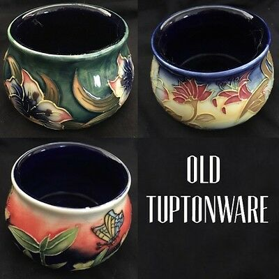 """3 x Old Tuptonware 3"""" Trinket Bowls Hand Painted Orchid Butterfly"""
