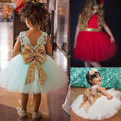 Baby Girl Child Toddler Dresses Sequins Bow Wedding Princess Party Tutu Dress UK